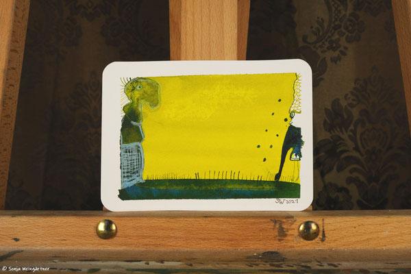 Litte Creatures No. 34 | 2021 | Mischtechnik auf Aquarellpapier |  10,7 x 14, 6 cm