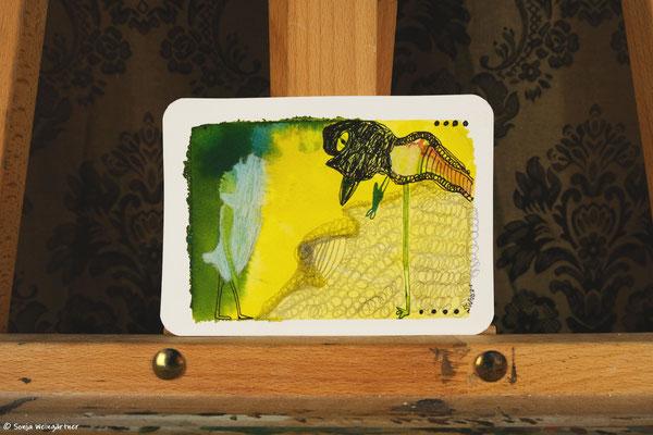 Litte Creatures No. 33 | 2021 | Mischtechnik auf Aquarellpapier |  10,7 x 14, 6 cm