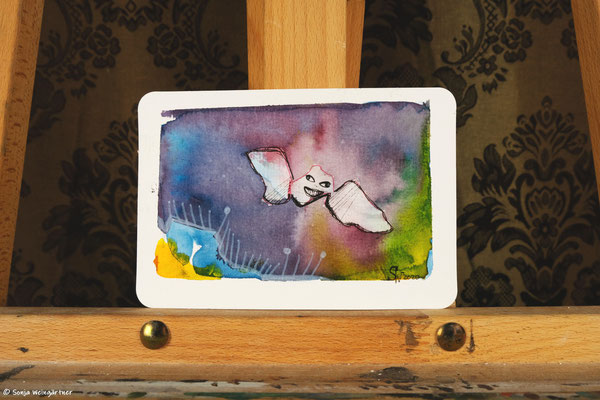 Litte Creatures No. 23 | 2020 | Mischtechnik auf Aquarellpapier | 10,8 x 14, 5 cm