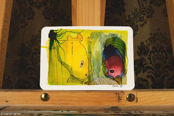 Litte Creatures No. 21 | 2020 | Mischtechnik auf Aquarellpapier |  10,7 x 14, 6 cm