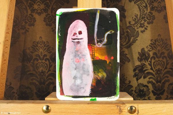 Litte Creatures No. 30 | 2021 | Mischtechnik auf Aquarellpapier | 10,8 x 14, 5 cm