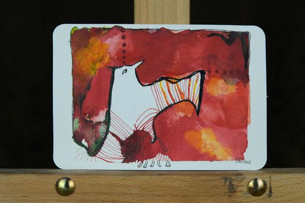 Litte Creatures No. 3 (verkauft)  | 2020 | Mischtechnik auf Aquarellpapier | 10,8 x 14, 5 cm