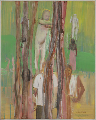blessings of Shiv Raj Giri, 03, 2014, Acryl auf Leinwand, 100x80cm