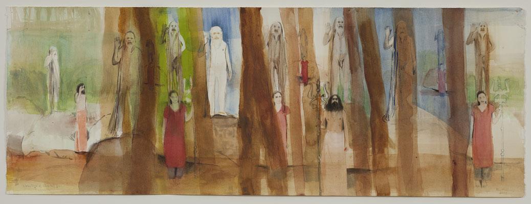 blessings of Shiv Raj Giri, 2013, Aquarell, 28,5x75cm