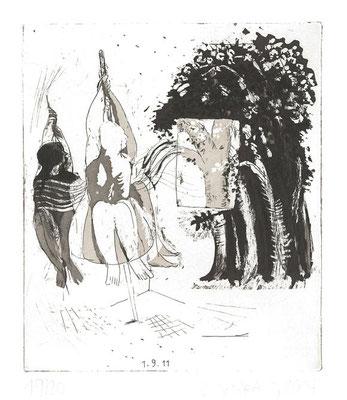 01.09.11, Radierung, Aquatinta, 2. Zustand, Kupferplatte 16x13,7cm, Ed. 20