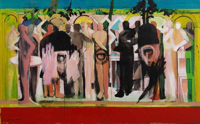 flashback and foresight, 2016, Acryl und Öl auf Leinwand, 90x145cm