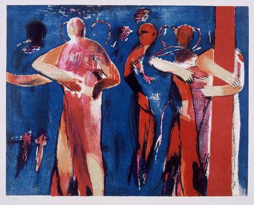 Körper-Blau, 2001, Lithographie, 5 Steine, 48 x 64 cm, Edition 30