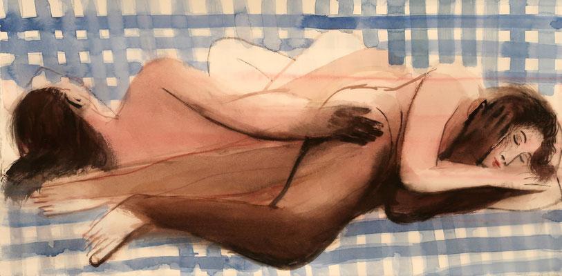Schlafende, 2019, Aquarell, 29x57cm