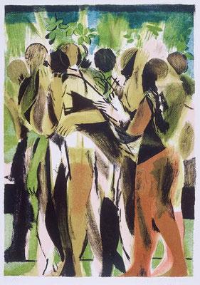 Gärtner, 2000, Lithographie, 5 Steine, 64 x 48cm