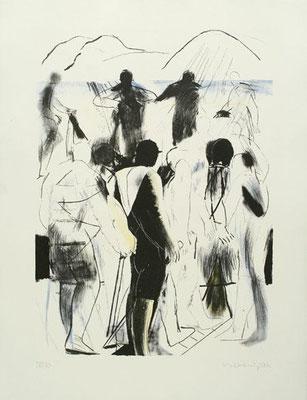 Bergwandern, 2006, Lithographie, drei Steine, 66 x 50 cm, Edition 30