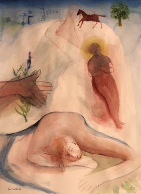 Der Schlafende, 2019, Aquarell, 77x58cm