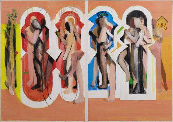 Michael Hedwig, Häuser, 2-teilig, 2016, Acryl auf Leinwand, 100x144cm
