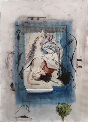 Glücklich Schlafende 02, 2019, Aquarell auf Radierung-Probedruck, Papierformat 38x27cm