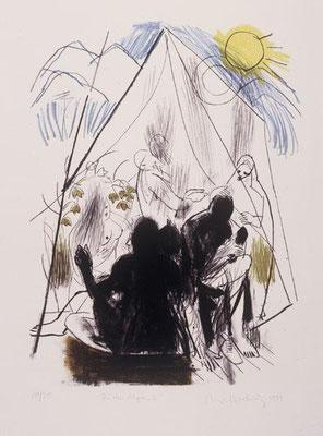 In den Alpen II, 1999, Lithographie, 3 Steine, 64 x 48cm, Edition 20