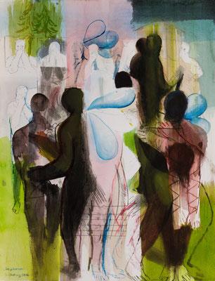 Garten, 2016, Aquarell auf Lithographie, 66x50,2cm