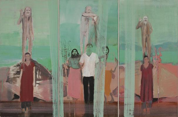 blessings of Shiv Raj Giri, 04, 2013. 3-teilig, Acryl auf Leinwand, 80x122cm