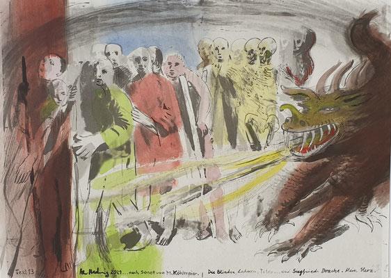 Aquarell auf Offsetlithographie 1, 25x35cm, Text 13 von Michael Köhlmeier, aus dem Buch SONETTE AUS DEM RAILJET, 2021