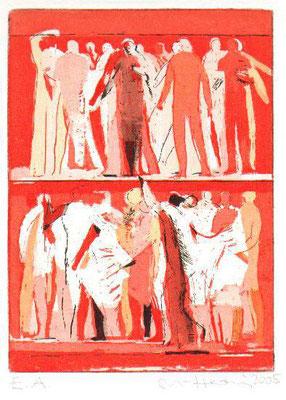 Etagen, 2005, Radierung, zwei Kupferplatten, 17 x 12,5 cm, Edition 20
