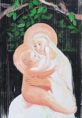 Madonna mit Kind - 2, 2021, Acryl auf Leinwand, 100x70cm