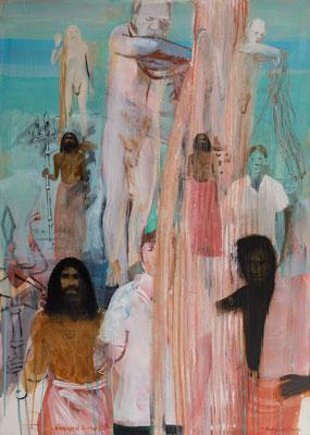 blessings of Shiv Raj Giri, 06, 2015, Acryl auf Leinwand, 140x100cm
