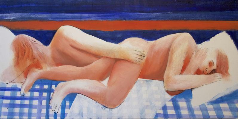 Schlafende, 2019, Acryl auf Baumwolle, 80x160cm