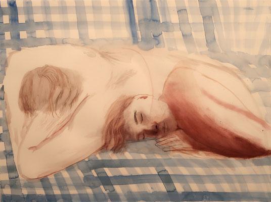 Schlafende, 2019, Aquarell, 58x77cm