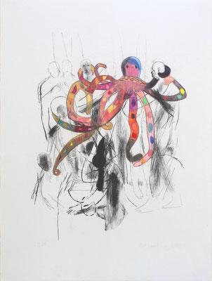 Beatrix Indrist und Michael Hedwig, Krake, 2020, Buntstift auf Lithographie