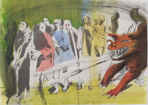 Aquarell auf Offsetlithographie 2, 25x35cm, Text 13 von Michael Köhlmeier, aus dem Buch SONETTE AUS DEM RAILJET, 2021