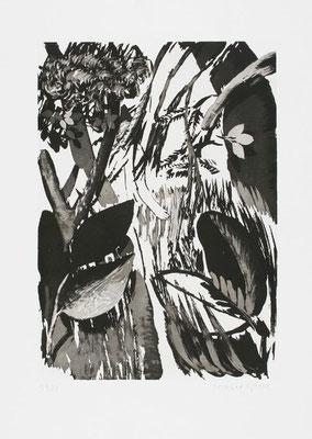 """04, Zuckertusche, Aquatinta, Papierformat 53x40cm, Rückseite des druckgrafischen Faltbuches """"Sterntaler"""""""