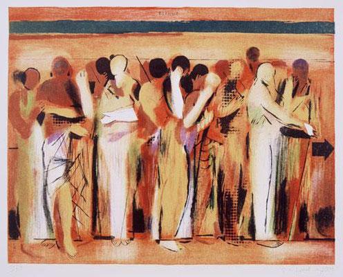 Körper-Transit, 2001, Lithographie, 6 Steine, 48 x 64 cm