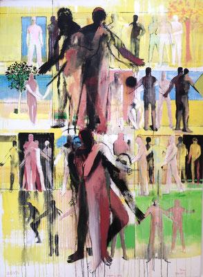 Stockwerke - gelb, Mariahilf, 2019, Acryl auf Jute, 190x140cm