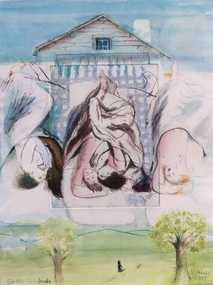Glücklich Schlafende 04, 2019, Aquarell auf Radierung-Probedruck, Papierformat 40x30cm