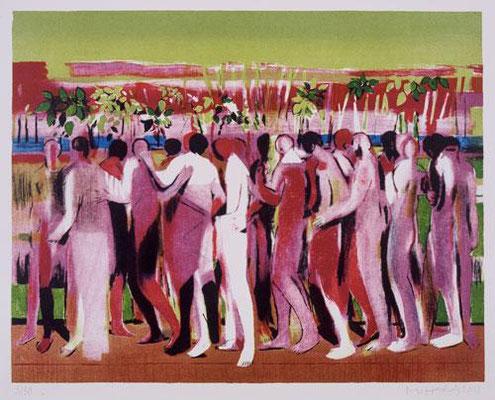 Körper-Garten, 2001, Lithographie, 7 Steine, 48 x 64 cm, Edition 30