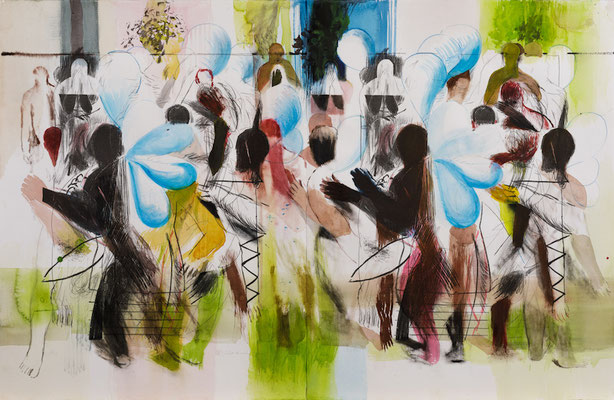 Garten II, 2017, Aquarell auf Lithographie, 66x100,5cm