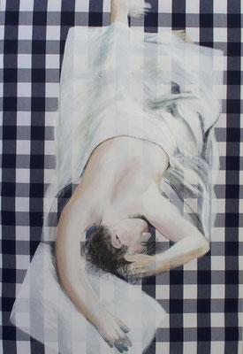 Schlaf 02, 2019, Acryl auf Hästens Textil, 130x90cm