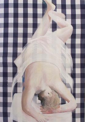 Schlaf 01, 2019, Acryl auf Hästens Textil, 130x90cm