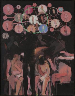 Kleines Welttheater, 2013, Acryl auf Leinwand, 90x70cm (Zwischenzustand)