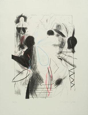 back, 2006, Lithographie, drei Steine, 66 x 50 cm, Edition 30