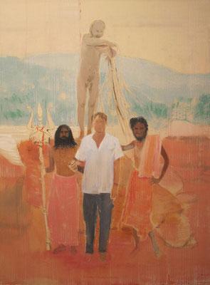 blessings of Shiv Raj Giri, 2011, Acryl auf ungrundierter Baumwolle, 300x220cm
