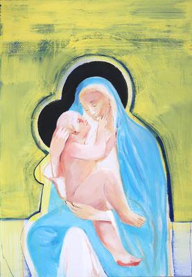 Madonna mit Kind - 1, 2021, Acryl auf Leinwand, 100x70cm