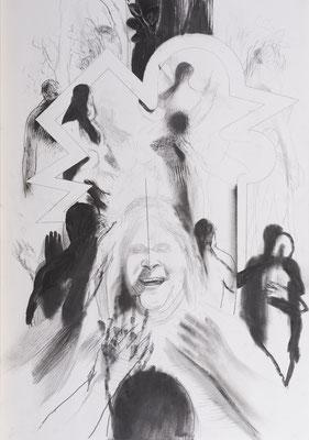 Michael Hedwig, Rückblick - Vorschau 03, 2017, Graphit auf Fabriano, 100x70cm