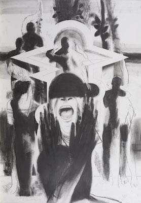 Michael Hedwig, Rückblick - Vorschau 01, 2016, Graphit auf Fabriano, 100x70cm