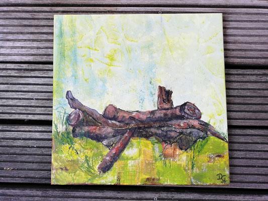 Holz mit Tupfer als Strukturgeber
