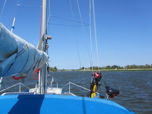 mit dem Segelboot auf der Peene