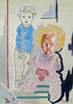 Rosemaries Baby, 2017, Mischtechnik auf Leinwand, 140 x 100 cm