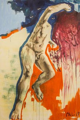 Laokoon, 2019, Mischtechnik auf Leinwand, 150 x 100 cm (Foto: Lena Schabus)