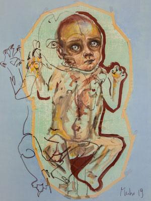 Wechselbalg (La condition humaine), 2019, Mischtechnik auf Leinwand, 160 x 120 cm (Foto: Lena Schabus)