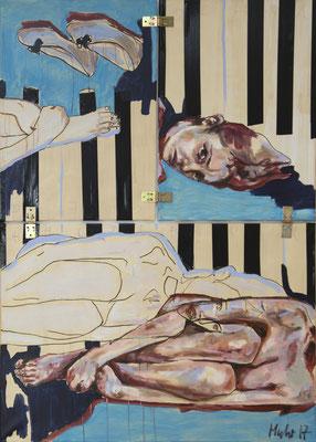 Die Leiden der Cäcilia, 2017, Mischtechnik auf Leinwand, 140 x 100 cm (Foto: Hana Abel)