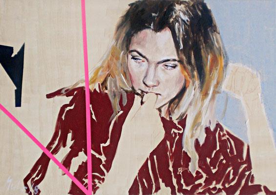 Je vous salue, Marie!, 2018, Mischtechnik auf Leinwand, 100 x 140 cm