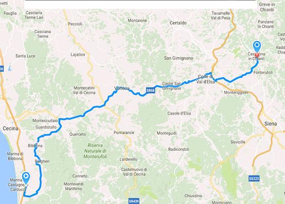 Route nach Castellina in Chianti